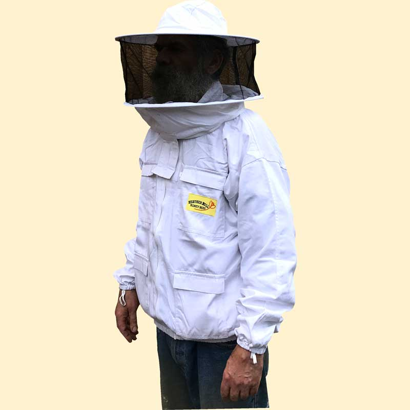 Beekeepers Zip Front Jacket, Hooped Hat Veil, White, Extra Large