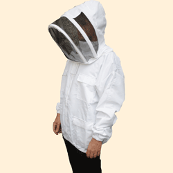 Beekeepers Zip Front Jacket, White, 2XL