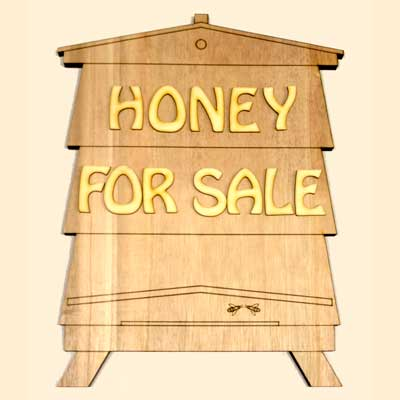 Beekeepers DIY Sign, Wood Bee Hive, HONEY, 380x300