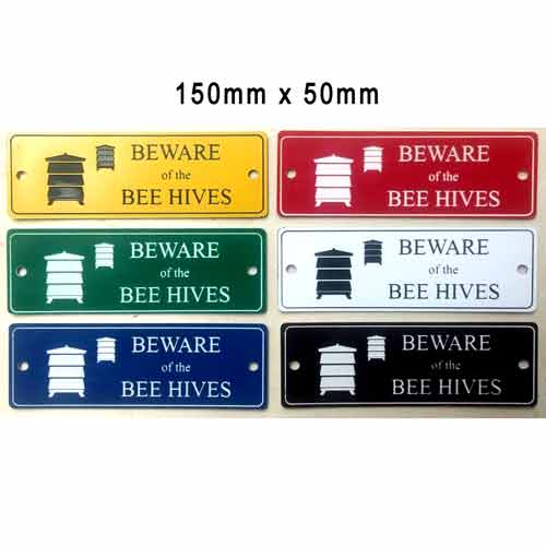 Engraved Sign, Beware Bee Hives, 150x50, Choose Colour