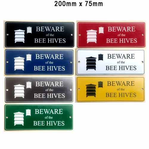 Engraved Sign, Beware Bee Hives, 200x75, Choose Colour
