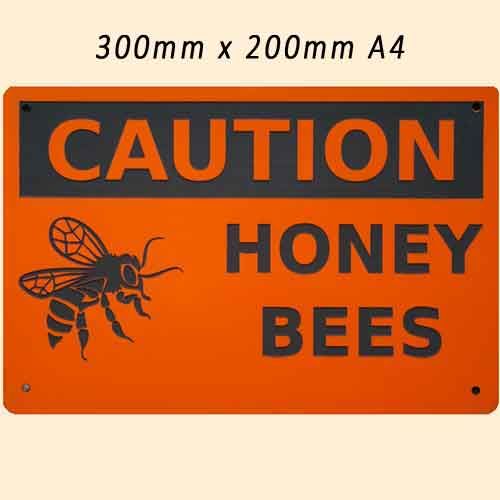 Engraved Sign, Caution Bees, 300x200, Safety Orange